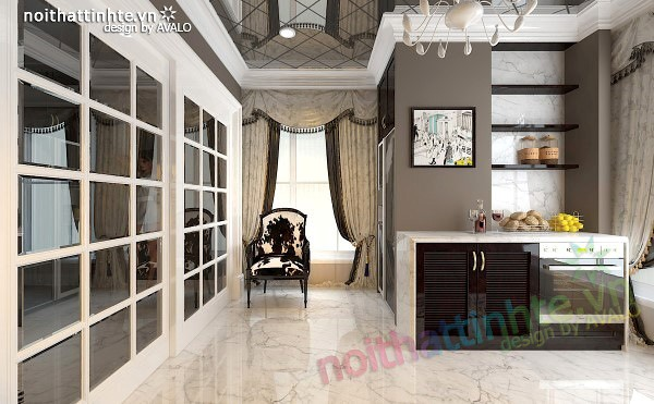 Thiết kế nội thất nhà Bếp Royal city anh Quang 05