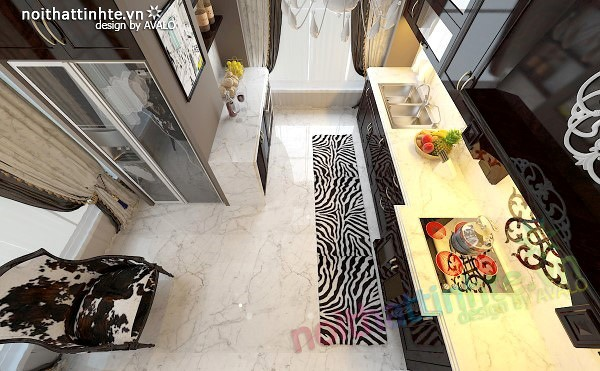 Thiết kế nội thất nhà Bếp Royal city anh Quang 06