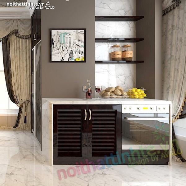 Thiết kế nội thất nhà Bếp Royal city anh Quang 07