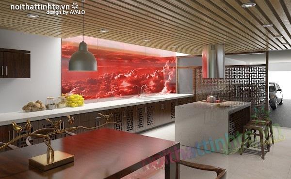 Thiết kế Nhà bếp đẹp Á đông đương đại 02