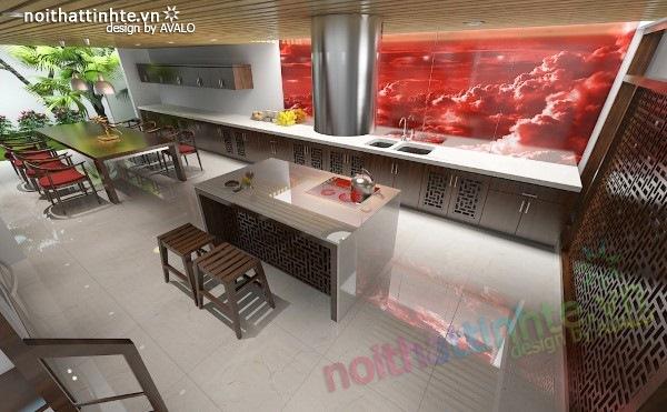 Thiết kế Nhà bếp đẹp Á đông đương đại 03