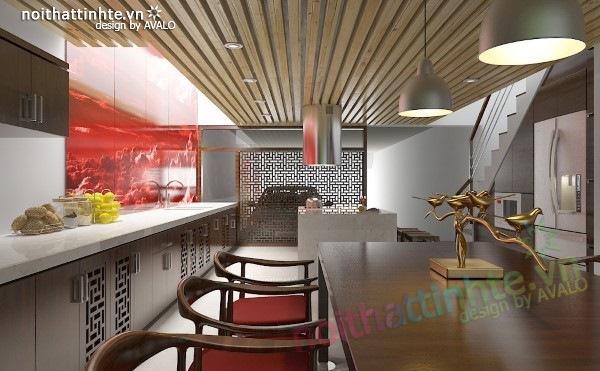 Thiết kế Nhà bếp đẹp Á đông đương đại 05