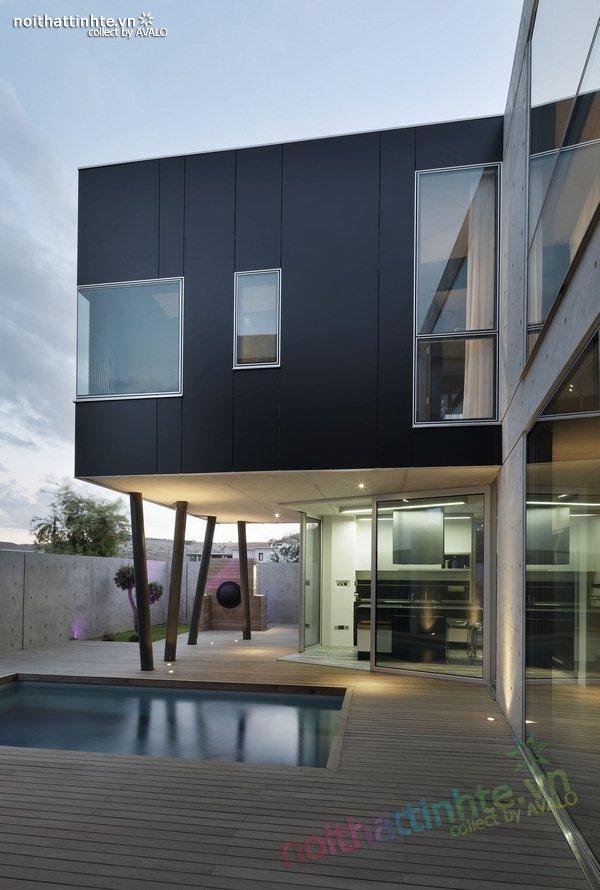 Mẫu nhà phố đẹp với bể bơi trong nhà 07