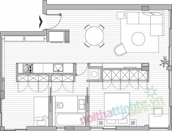 Thiết kế nội thất chung cư 60 m2 06
