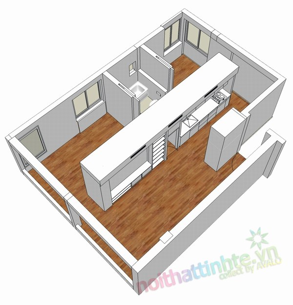 Thiết kế nội thất chung cư 60 m2 08
