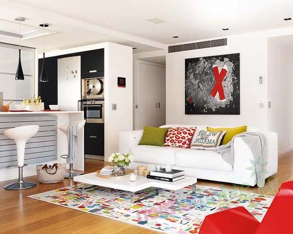Thiết kế nội thất chung cư với màu sắc hỗn hợp 01