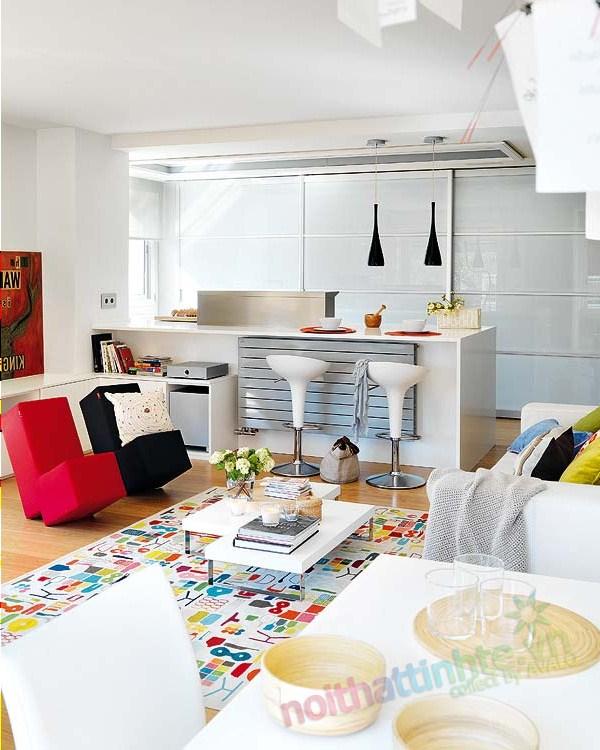 Thiết kế nội thất chung cư với màu sắc hỗn hợp 03