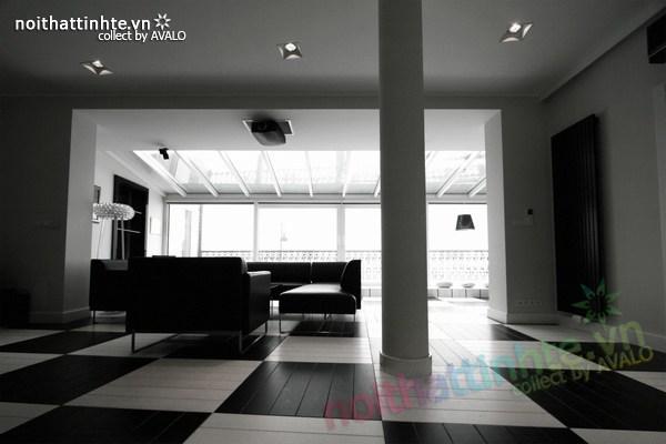 Thiết kế nội thất văn phòng màu đen và trắng 01