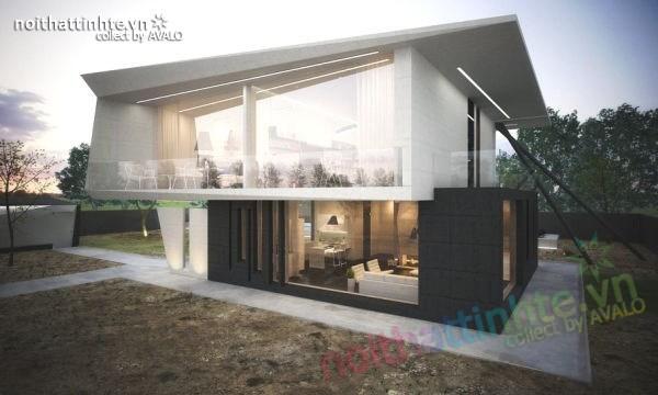 Mẫu nhà đẹp 2 tầng hình thức độc đáo và thiết kế hiện đại 02