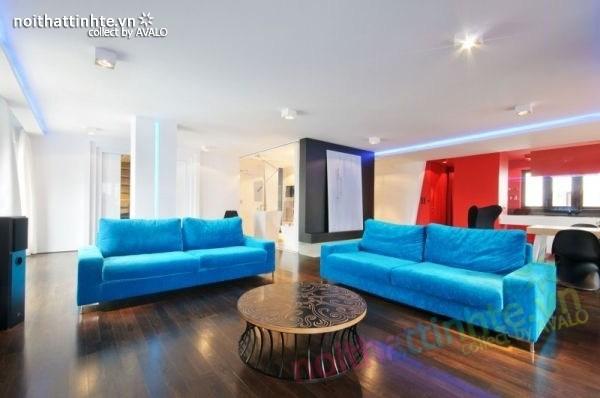 Thiết kế nội thất chung cư với màu sắc tương phản 01