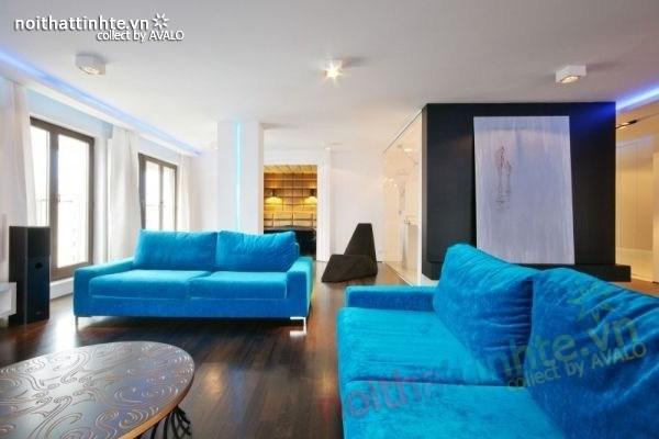 Thiết kế nội thất chung cư với màu sắc tương phản 02
