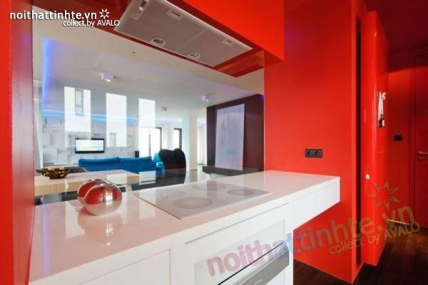Thiết kế nội thất chung cư với màu sắc tương phản 03