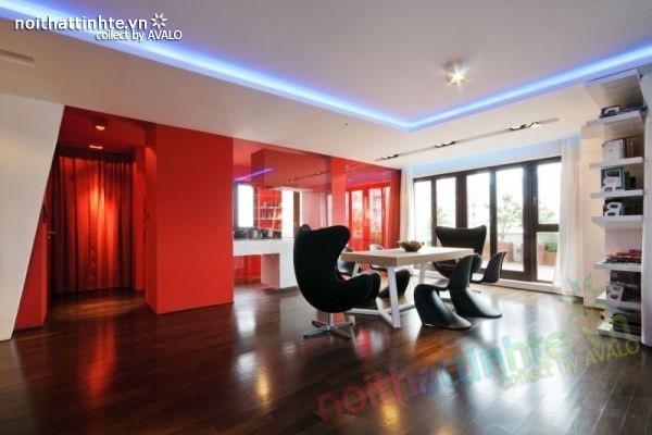 Thiết kế nội thất chung cư với màu sắc tương phản 04