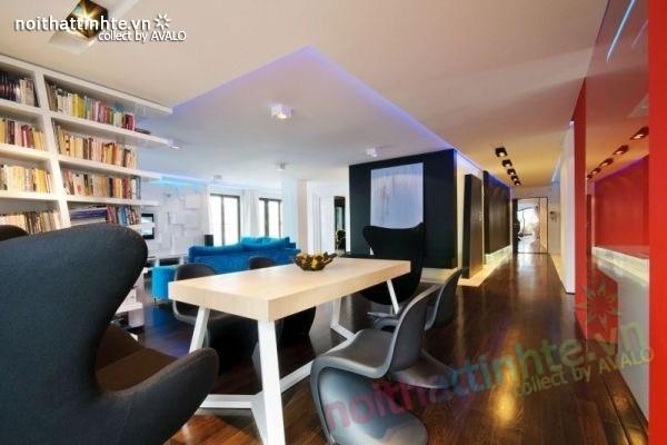 Thiết kế nội thất chung cư với màu sắc tương phản 05