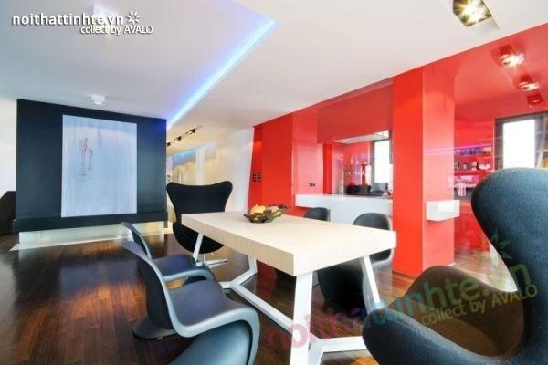 Thiết kế nội thất chung cư với màu sắc tương phản 06