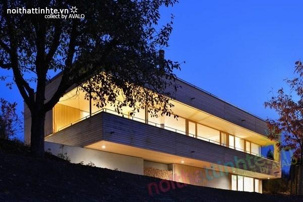 Mẫu nhà đẹp 2 tầng nằm trên sườn dốc ở Thụy Sỹ 11