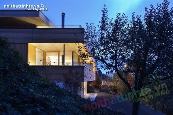 Mẫu nhà đẹp 2 tầng nằm trên sườn dốc ở Thụy Sỹ 05