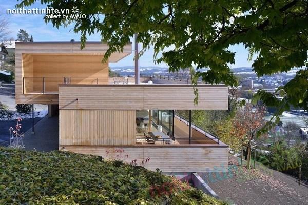 Mẫu nhà đẹp 2 tầng nằm trên sườn dốc ở Thụy Sỹ 06