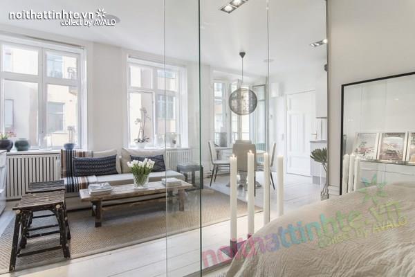 Thiết kế chung cư đẹp tại Thụy Điển nổi bật với vách kính 01