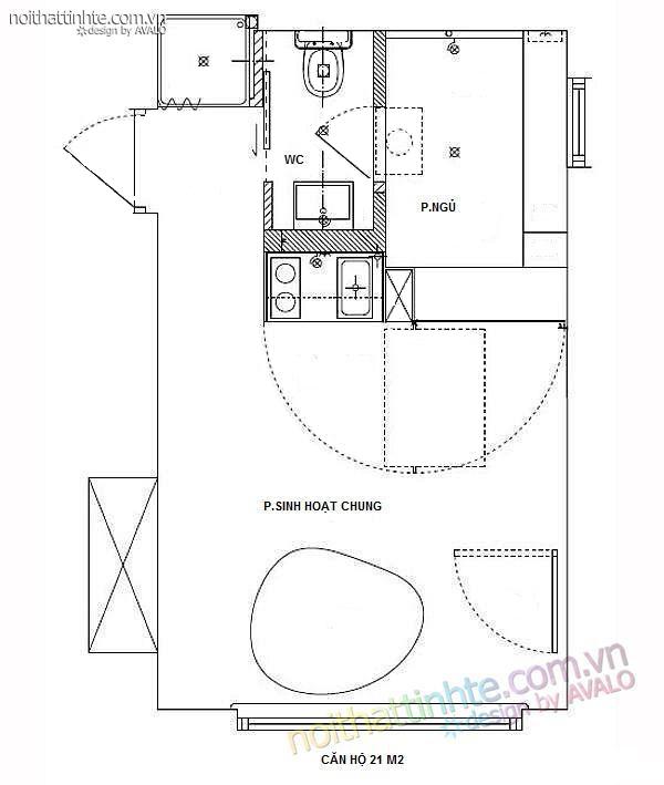 thiết kế nội thất nhà nhỏ đẹp 21m2-12