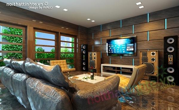 Thiết kế nội thất phòng khách kết hợp phòng nghe nhạc 10