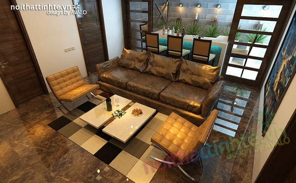 Thiết kế nội thất phòng khách kết hợp phòng nghe nhạc 12