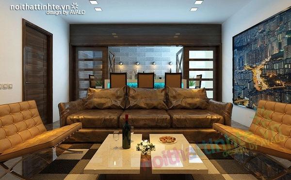 Thiết kế nội thất phòng khách kết hợp phòng nghe nhạc 02