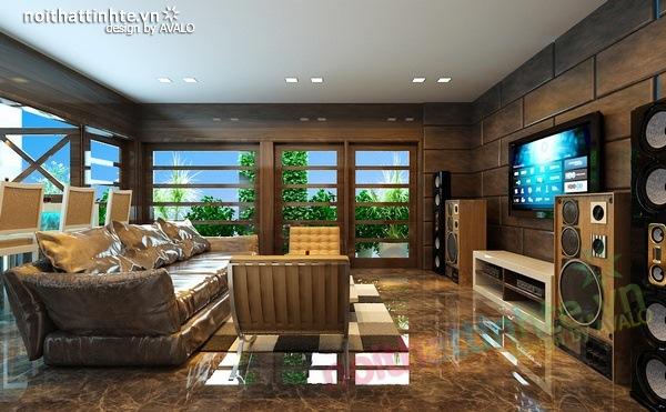 Thiết kế nội thất phòng khách kết hợp phòng nghe nhạc