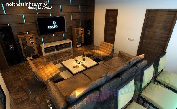 Thiết kế nội thất phòng khách kết hợp phòng nghe nhạc 09