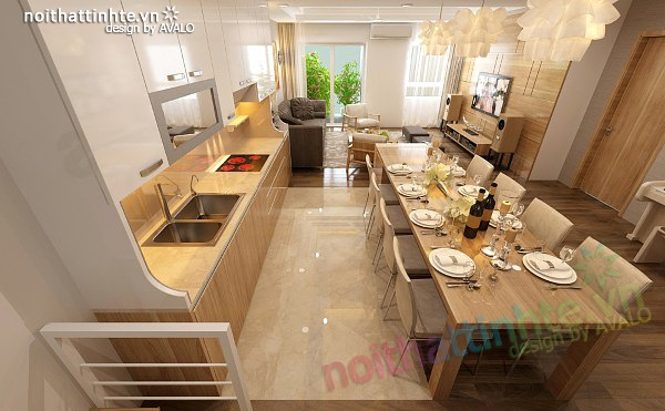 Thiết kế nội thất chung cư 90 m2 nhà anh Hoàng Minh Khai 04