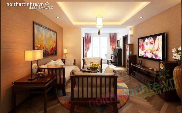 Thiết kế nội thất chung cư 100 m2 phong cách Á Đông 10