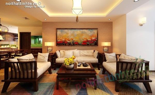 Thiết kế nội thất chung cư 100 m2 phong cách Á Đông 02