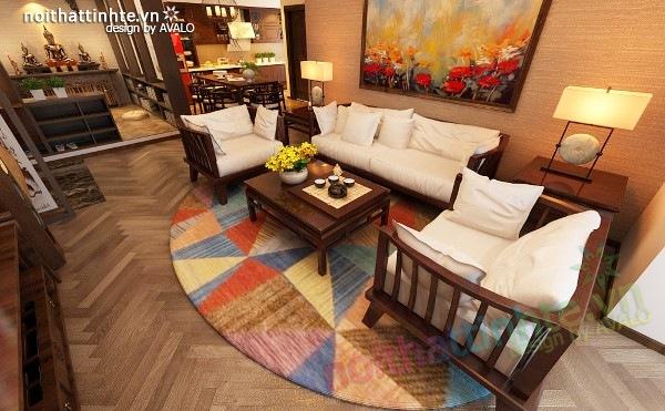 Thiết kế nội thất chung cư 100 m2 phong cách Á Đông 03