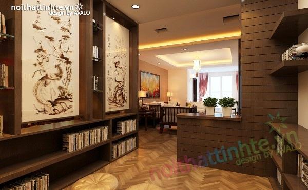 Thiết kế nội thất chung cư 100 m2 phong cách Á Đông 06