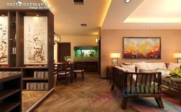 Thiết kế nội thất chung cư 100 m2 phong cách Á Đông 09